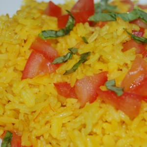 Saffron Infused Rice with basil and tomatoes