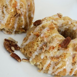 Easter Dessert-Coconut Carrot Cake Minis with a Lemon Pecan Glaze