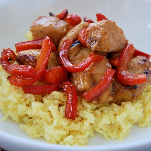 Honey Ginger Chicken with Peppers