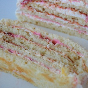 White Almond Cake with Strawberry Mousse Filling