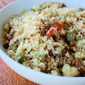 Fried Couscous Salad with Artichokes, Pecans, Red Peppers and Celery