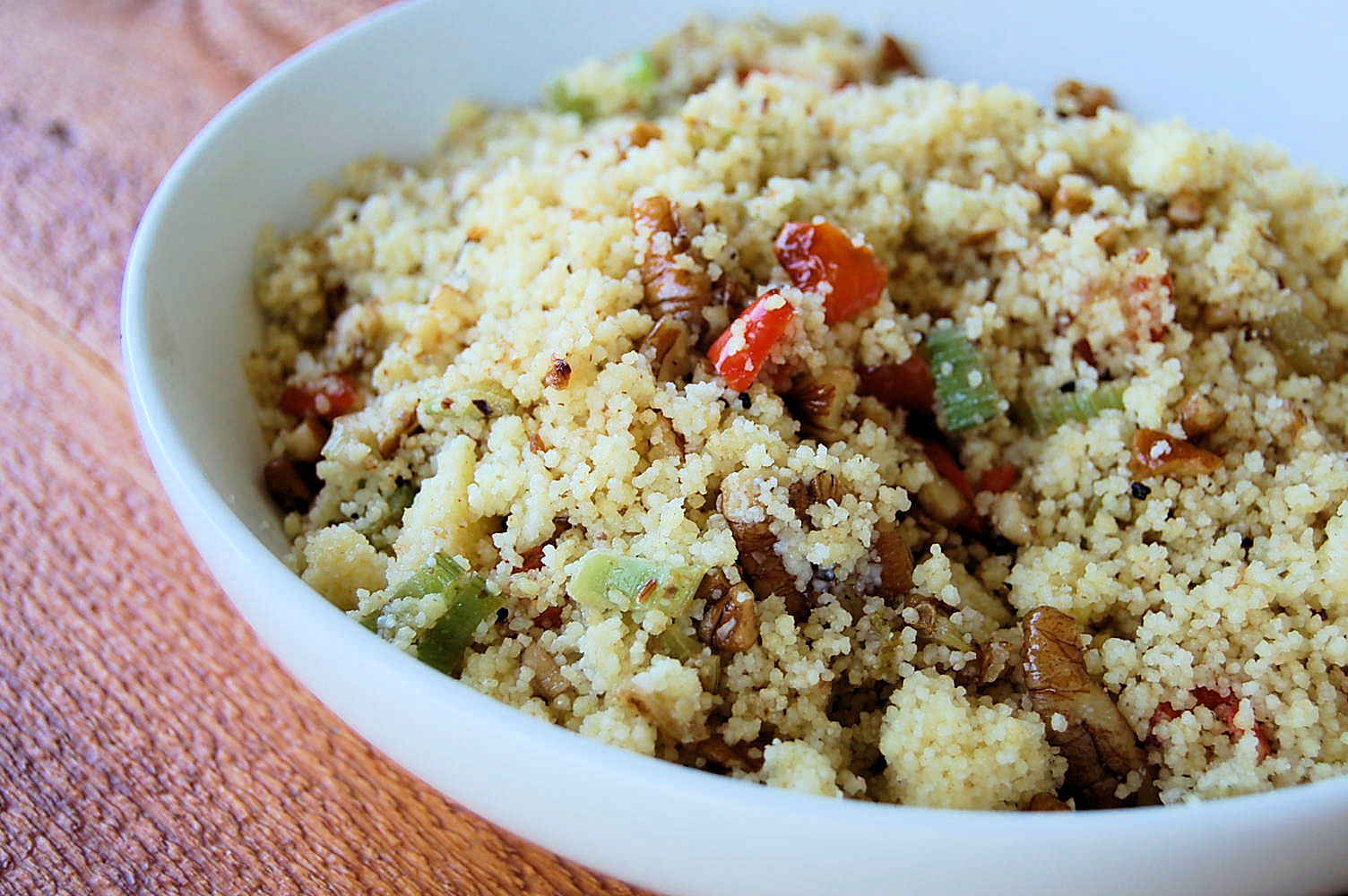 fried-couscous-salad-with-artichokes-pecans-red-peppers-and-celery