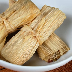 Homemade Cheese Tamales with Roasted Tomatoes, Zucchini and Green Onions