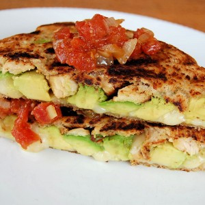 Avocado Roasted Chicken Grill cheese with spicy tomato sauce