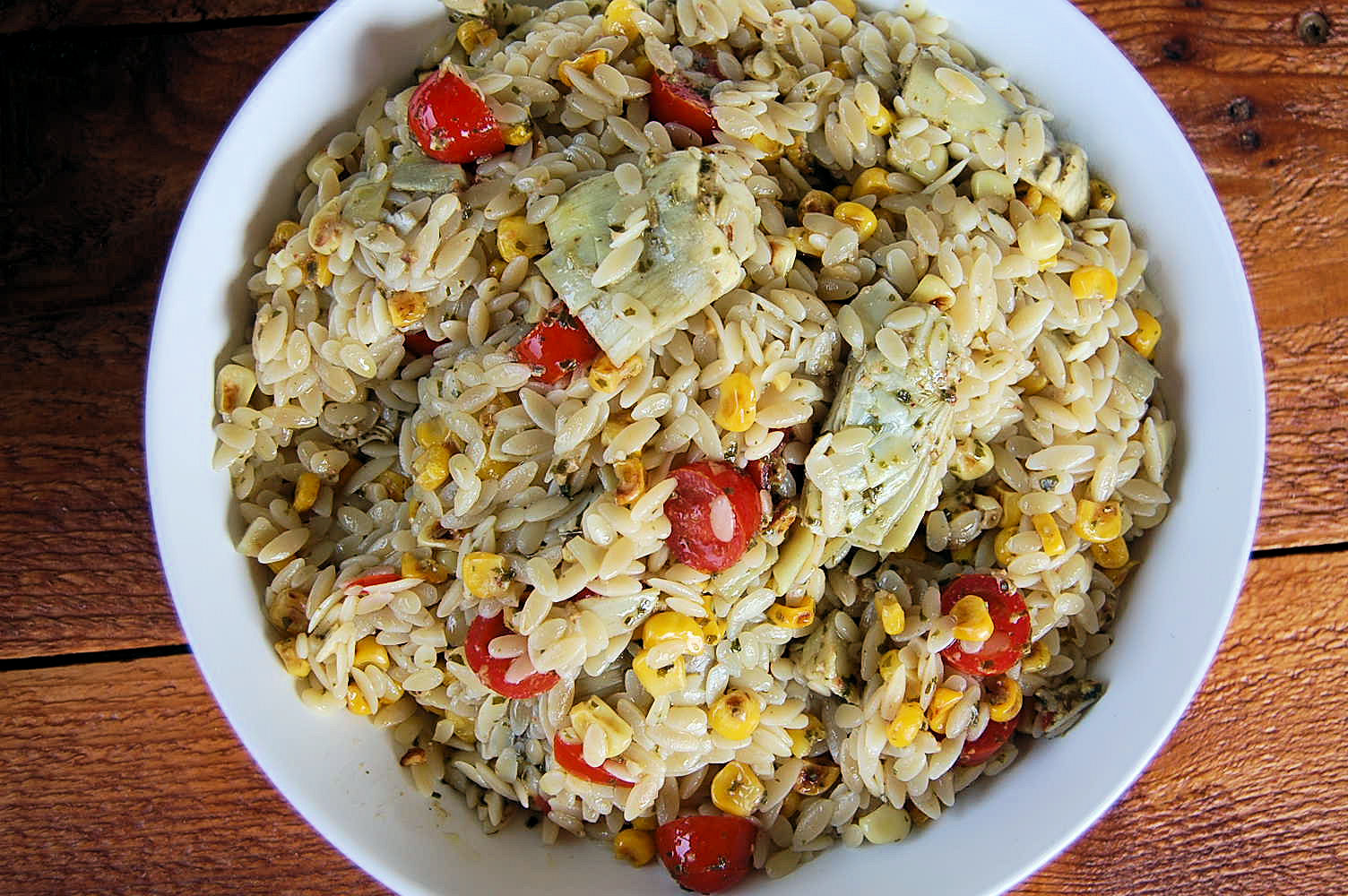 orzo-with-lemon-artichoke-pesto-roasted-garlic-corn-and-cherry-tomatoes