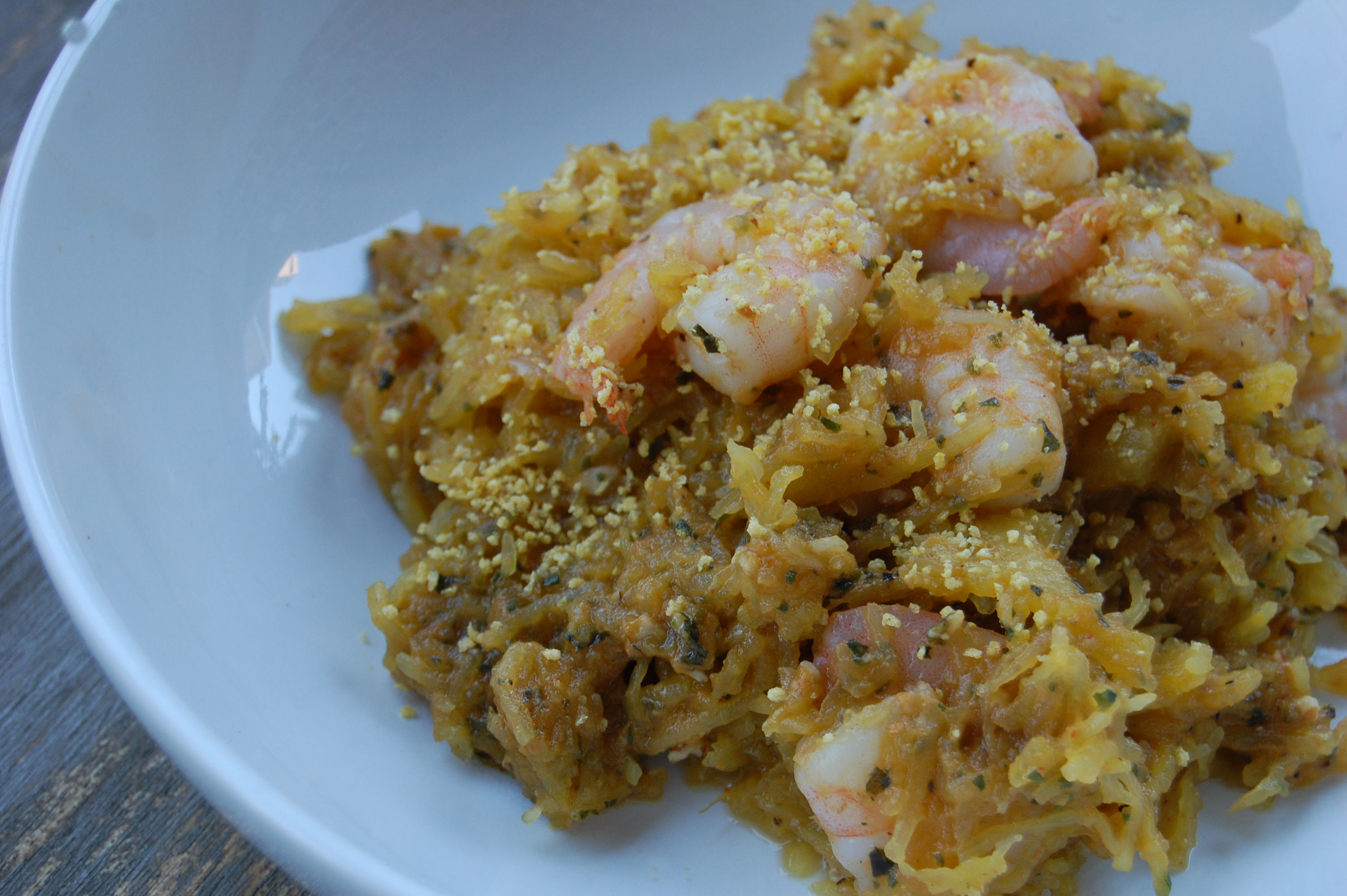 pumpkin-pesto-spaghetti-squash-with-roasted-shrimp-tate-bake-shop-giveaway