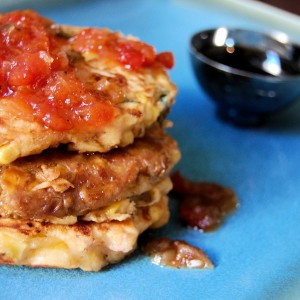 Pancetta and Corn Griddle Cakes with Red Pepper Onion Jam
