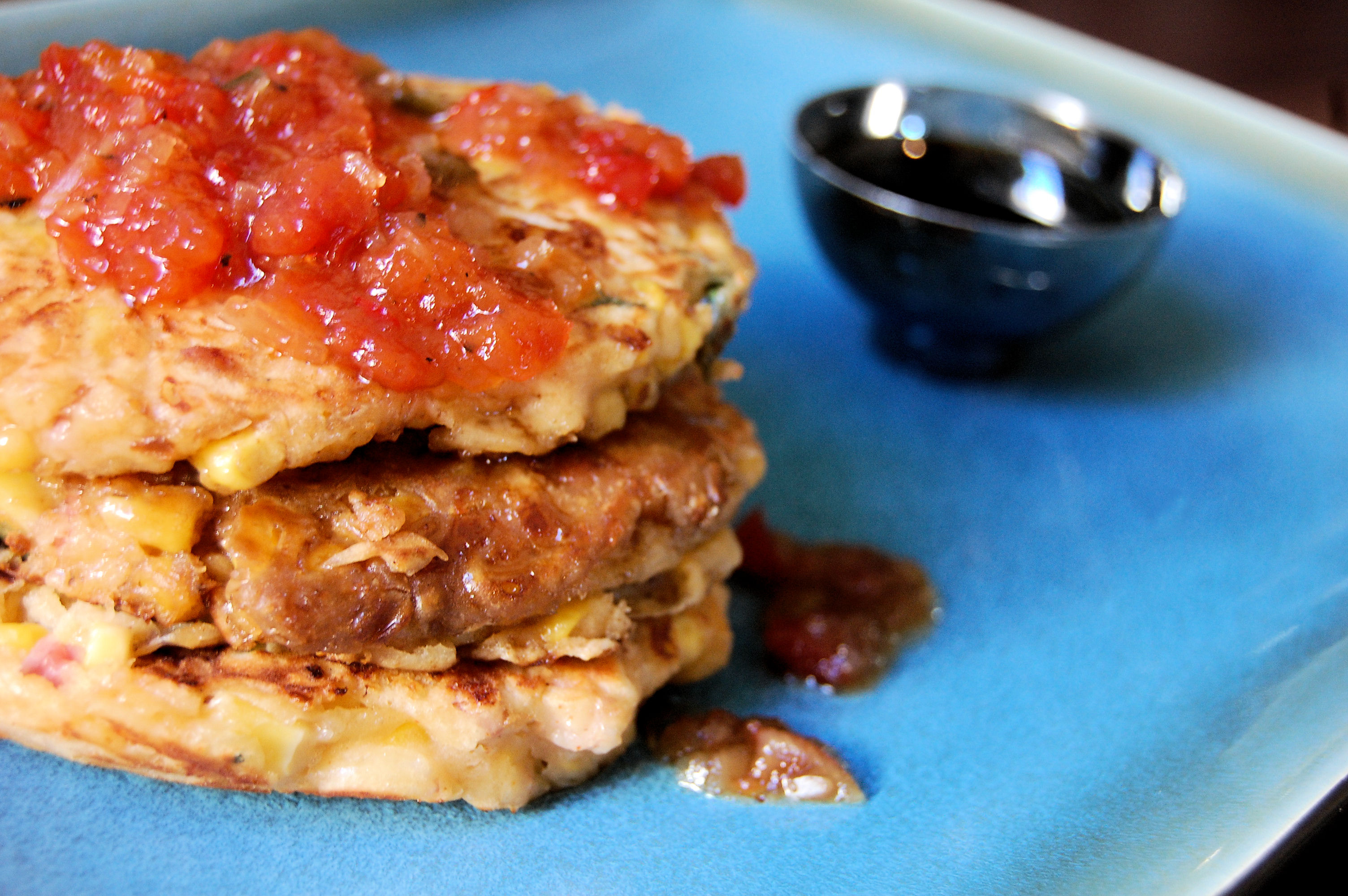 pancetta-and-corn-griddle-cakes-with-red-pepper-onion-jam