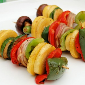 Tangerine Basalmic Glazed Summer Vegetable Kabobs