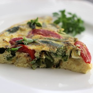 Asparagus and Roasted Red Pepper Easter Frittata with Spicy Basil