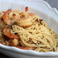 Simple Garlic Oil & Crushed Red Pepper Capellini with Grilled Shrimp