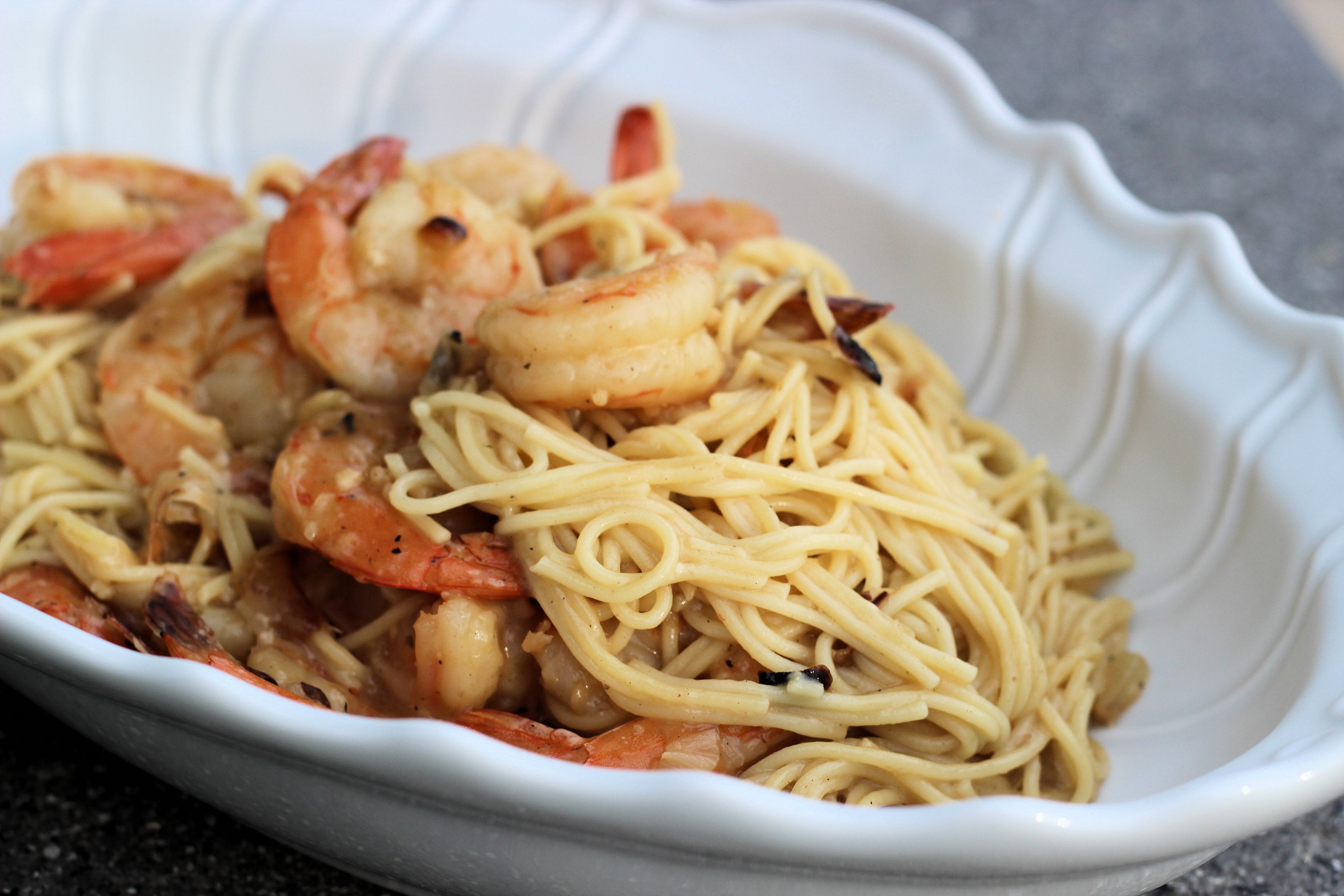 simple-garlic-oil-crushed-red-pepper-capellini-with-grilled-shrimp