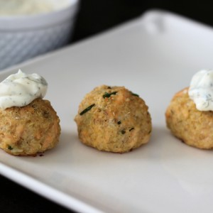 Quinoa Salmon Meatballs with Greek Yogurt Dill Sauce- Gluten Free