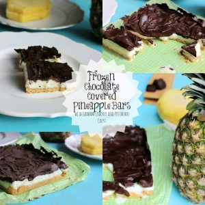 Frozen Chocolate Covered Pineapple Bars with Pistachio Graham Cracker Crust