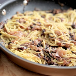 Spaghetti with Sauteed Radicchio and Onions