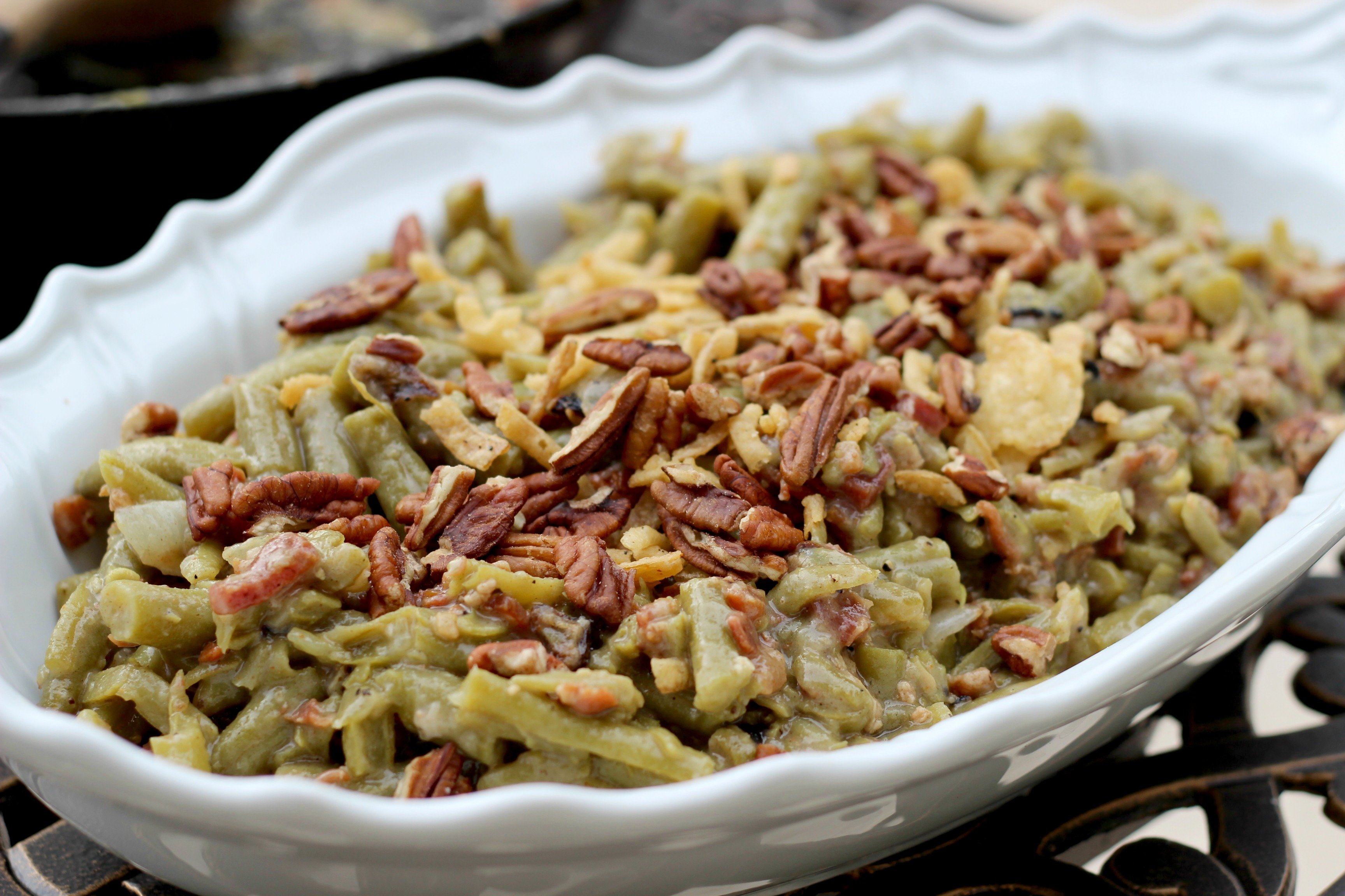 Green Bean Casserole With Mushroom Bechamel & Crispy Onions Recipe ...