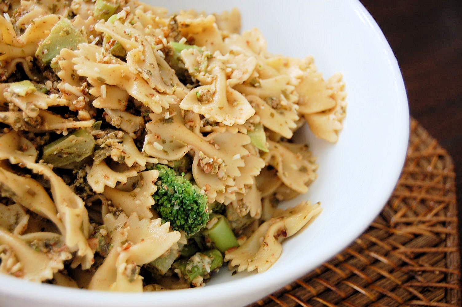 Sage and Pecan Pesto with Roasted Brocolli tossed with pecan crumbs